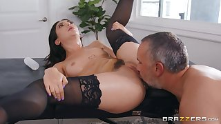 Wife in pitch-black stockings, first time getting drilled by possibility man