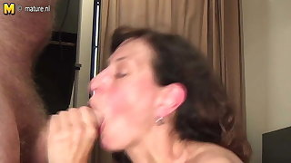 Old mother playing and sucking young cock