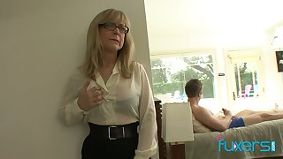 Mature fake tittied stepmom caught her stepson jerking off hard fat cock