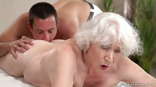 Dirty-minded mature whore Norma B moans as will not hear of wet pussy is fucked