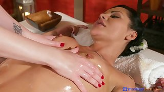 Remarkable girl on girl massage therapy with a finger fucking.