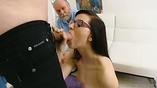 Nerdy brunette Alla loses her virginity in front of one kinky old doctor