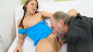 Horny young babe drilled by old stud