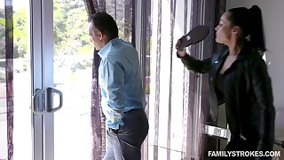 Hot MILF catches her shush spying on a neighbor's stepdaughter