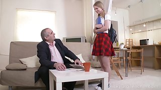 Horny old professor amble a cute coed into a stale nympho