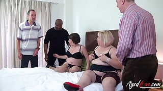 Fat whore Trisha has invited heavy old streetwalker take work on several cocks