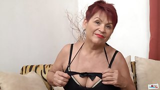 Czech Granny GILF nearly fat saggy tits and shaved pussy poses solo
