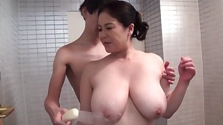 Strong hardcore sex for the busty adult Japanese mom