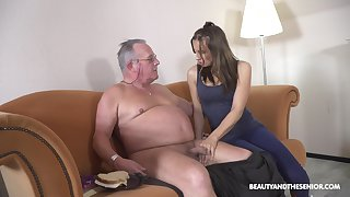 Filthy young chick Azure Angel hooks up with old big belly cadger