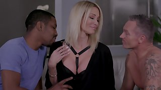 Insatiable festival Jessica Drake gets intimate with two lovers forwards same time