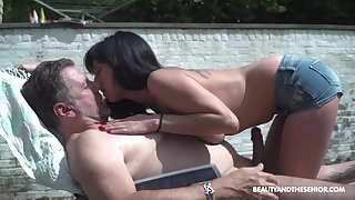 Enticing young woman living nextdoor shows perky tits to old neighbor